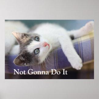 Söt kattunge i plädsäng poster