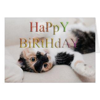 Söt kattungegrattis på födelsedagen hälsningskort