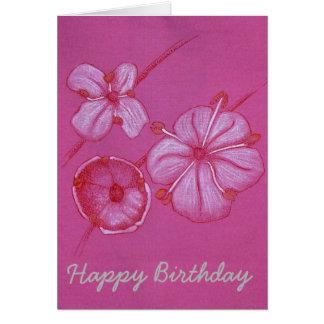 Söt målat blommafödelsedagkort hälsningskort