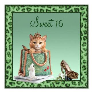 Söt päls för 16 Princess Kattunge Göra grön Faux Fyrkantigt 13,3 Cm Inbjudningskort