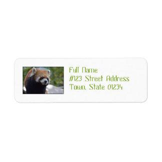 Söt röd Pandabjörn Returadress Etikett