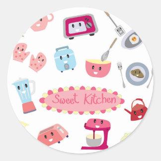 Söt rosa kökelektricitet och gullig symbol för runt klistermärke