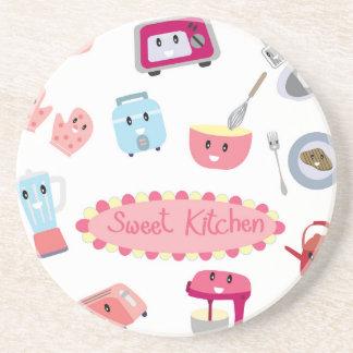 Söt rosa kökelektricitet och gullig symbol för underlägg sandsten