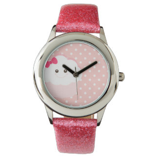 Söt rosa muffin {klockan} armbandsur