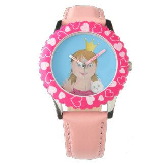 Söt rosa Princess Lura Klocka
