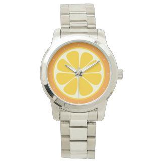 Söt saftig orange tropisk citrusfruktskiva armbandsur