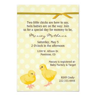 Söt tvilling- chickduschinbjudan 12,7 x 17,8 cm inbjudningskort