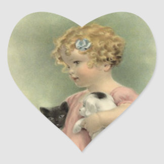 Söt valp för kattunge för flicka för hjärtformat klistermärke