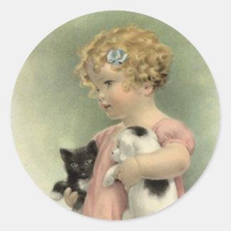 Söt valp för kattunge för flicka för runt klistermärke