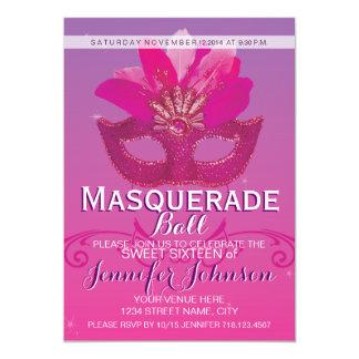 Söta 16 rosa lilor för maskeradpartyboll 12,7 x 17,8 cm inbjudningskort
