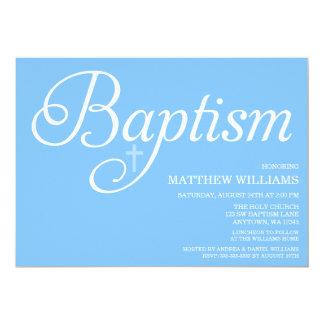Söta blått skrivar dop 12,7 x 17,8 cm inbjudningskort