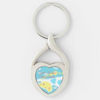 Söta drömmar Keychain Twisted Heart Silverfärgad Nyckelring