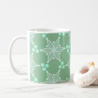 Söta gröna retro blommor och fläckar kaffemugg