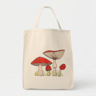 Söta Handrawn giftsvampar på toto som kan användas Mat Tygkasse