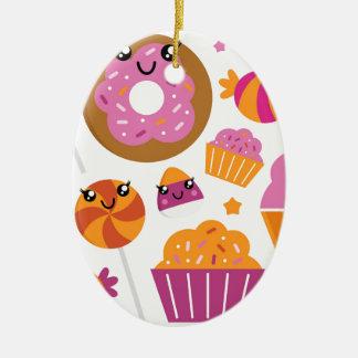 Söta rosa donuts/produkter julgransprydnad keramik