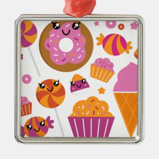 Söta rosa donuts/produkter julgransprydnad metall