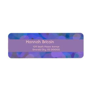 Sötabstrakt i blått, lilor och grönt returadress etikett
