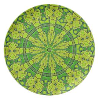 Söten görar grön den kvinnliga Mandalablomman för Tallrik