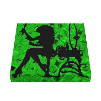Söten görar grön den metalliska kanvastrycket canvastryck