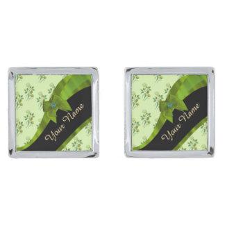 Söten görar grön det blom- blommamönster för silverpläterade manschetterknappar