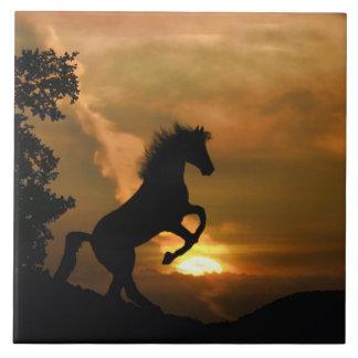Söten som fostrar hästkonst, belägger med tegel kakelplatta