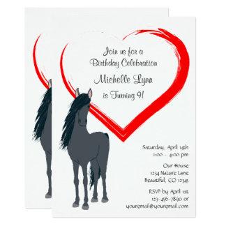 Söten svärtar hästen och röd 12,7 x 17,8 cm inbjudningskort