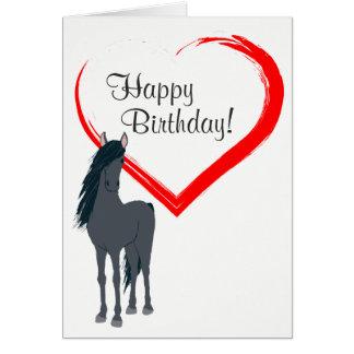 Söten svärtar hästen och röd hjärtagrattis på hälsningskort