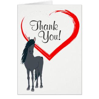 Söten svärtar hästen och rött hjärtatack OBS kort
