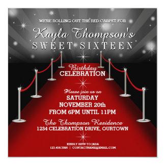 Sött 16 glamoröst rött mattar partyinbjudningar fyrkantigt 13,3 cm inbjudningskort