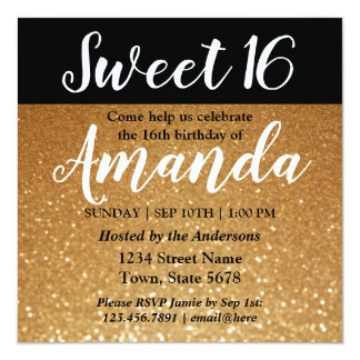 Sött 16 party för glitter för födelsedaginbjudan | fyrkantigt 13,3 cm inbjudningskort