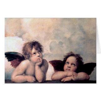 Sött italienskt änglarrenaissancemästerverk hälsningskort