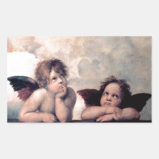 Sött italienskt änglarrenaissancemästerverk rektangulärt klistermärke