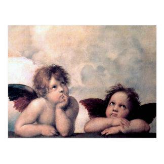Sött italienskt änglarrenaissancemästerverk vykort