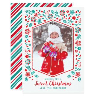 Sött kort för julhelgdagfoto 12,7 x 17,8 cm inbjudningskort