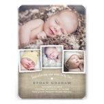Sött meddelande för födelse för landBurlappojke Inbjudningar
