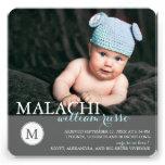 Sött meddelande för Monogrampojkefödelse Anpassade Inbjudningskort