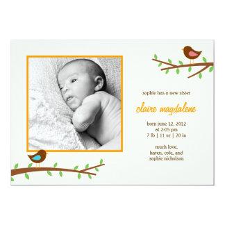 Sött meddelande för pippibabyfödelse 12,7 x 17,8 cm inbjudningskort