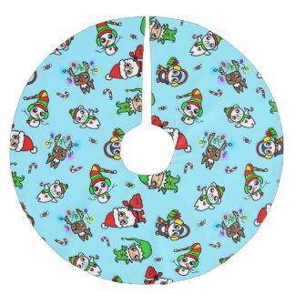 Sött mönster för Kawaii jultecken Julgransmatta Borstad Polyester