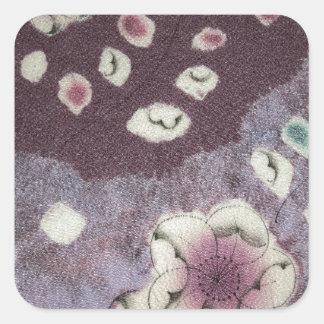 Sött purpurfärgat Kimonotyg Fyrkantigt Klistermärke