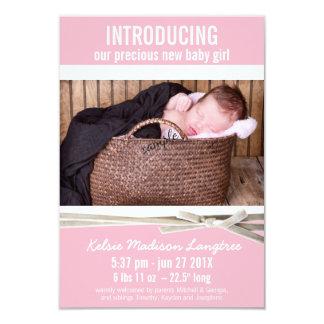 Sött rosa meddelande för nyfödd bebisflickafödelse 8,9 x 12,7 cm inbjudningskort