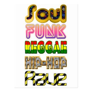 Soul Funk, Reggae, hip hop, översvallande beröm Vykort
