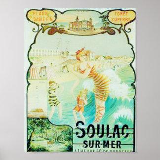 Soulac fransk strandsemesterort poster