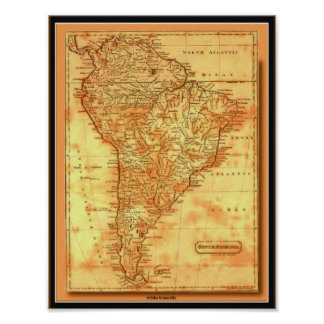 South America för karta AfriMex Urbano för gammal  Poster