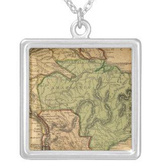 South America karta vid Worcester Silverpläterat Halsband