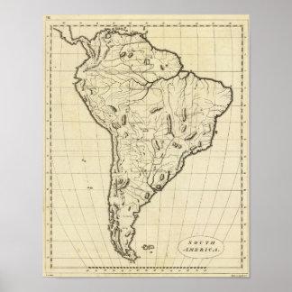South America skisserar Poster