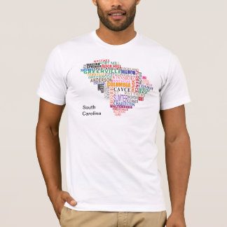 South Carolina stadskarta Tee Shirt