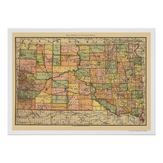 South Dakota järnvägkarta 1892 Poster