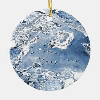 Southward fast utgift beskådar pärlemorfärg hamn julgransprydnad keramik