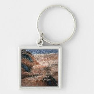 Southwestindianjord Qoute P Keychain Fyrkantig Silverfärgad Nyckelring