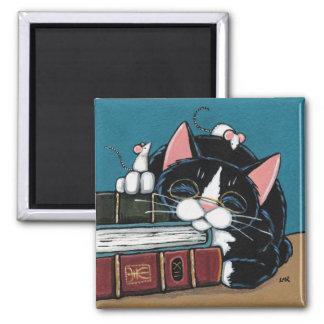 Sova att måla för för bokmalsmokingkatt och möss magnet